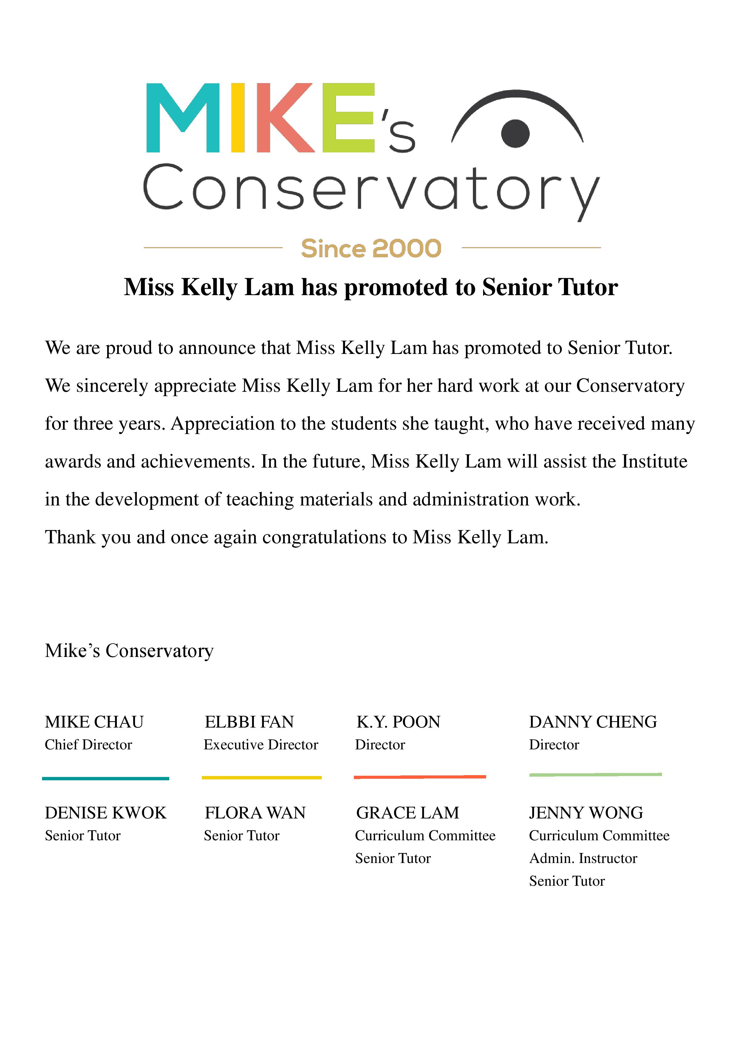 Miss Kelly Lam has promoted to Senior Tutor-page-001